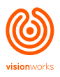 VisionWorks Logo: an orange labryinth with the words VisionWorks below it