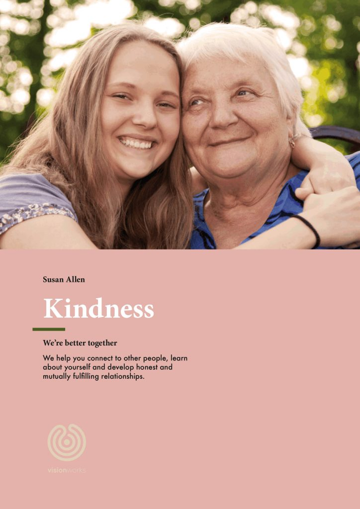 An image of the front page of a document titled 'Kindness' by Sue Allen